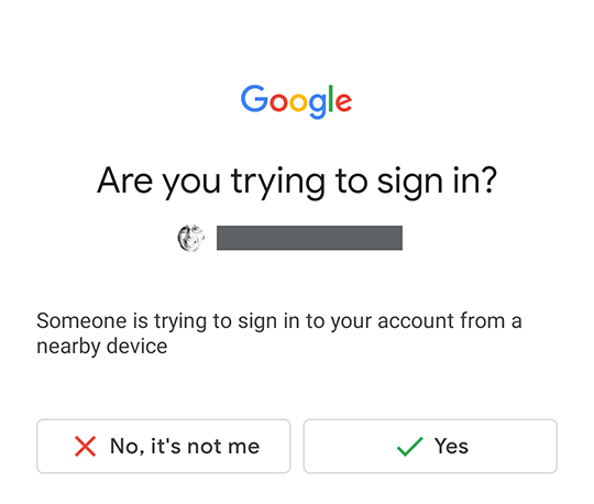 Are you trying to sign in? No/Yes