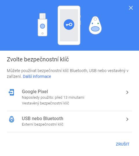 Zvolte bezpečnostní klíč: Bluetooth, USB, vestavěný vzařízení