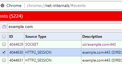 chrome://net-internals/#events HTTP2_SESSION Source Type