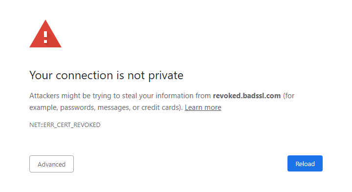 Your connection is not private: NET::ERR_CERT_REVOKED