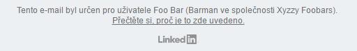 Patička e-mailu sodkazem na reset hesla na LinkedInu
