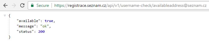 Seznam.cz API username check result
