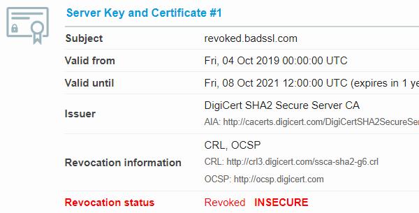 Revoked certificate in SSL Labs Server Test