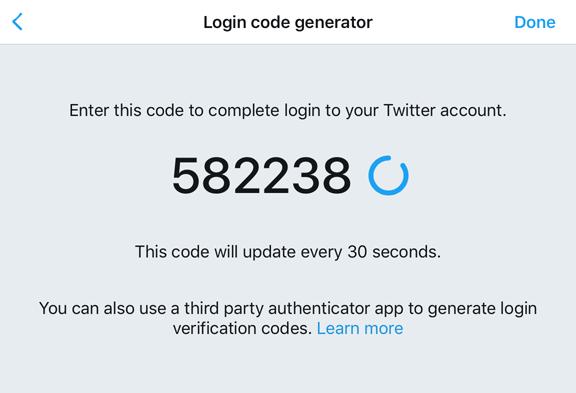 Login code generator vTwitteru na iOS
