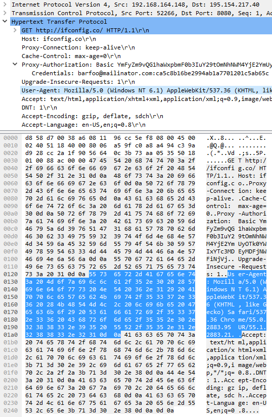 Unencrypted connection to the proxy server