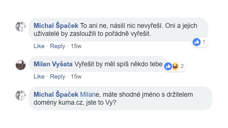 """Majitel domény kuma.cz: """"Vyřešit by měl spíš někdo tebe"""""""