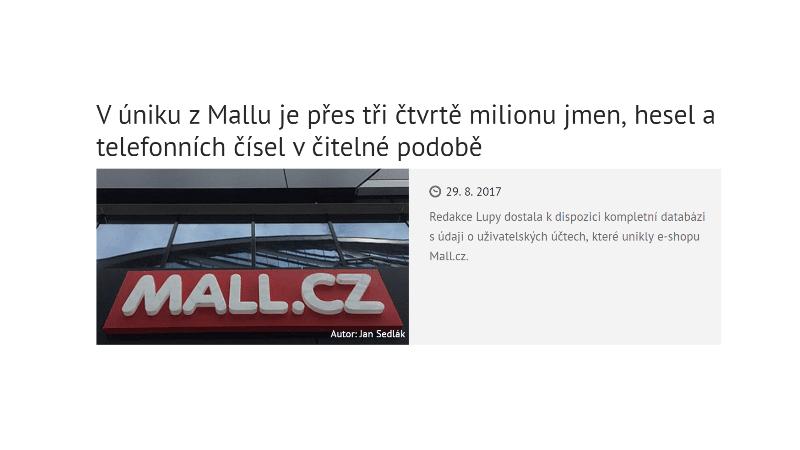 """Lupa.cz: """"V úniku z Mallu je přes tři čtvrtě milionu jmen, hesel a telefonních čísel v čitelné podobě"""""""