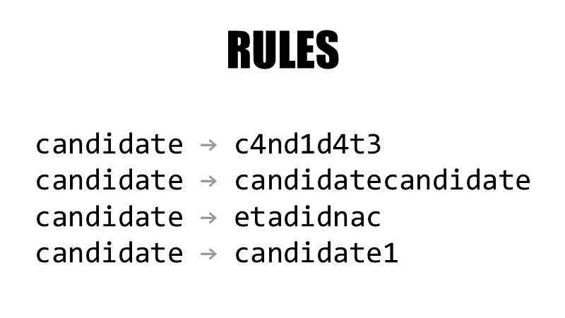 Rules for generating even more candidates