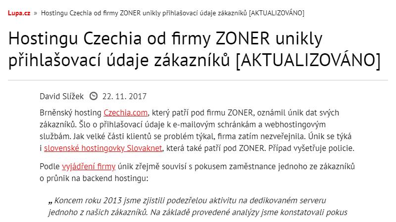 Lupa.cz: Hostingu Czechia od firmy ZONER unikly přihlašovací údaje zákazníků [AKTUALIZOVÁNO]