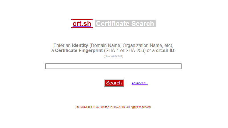 Certificate Search crt.sh