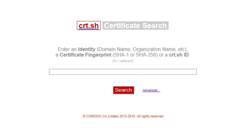 Certificate Search crt.sh