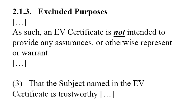 EV Excluded Purposes