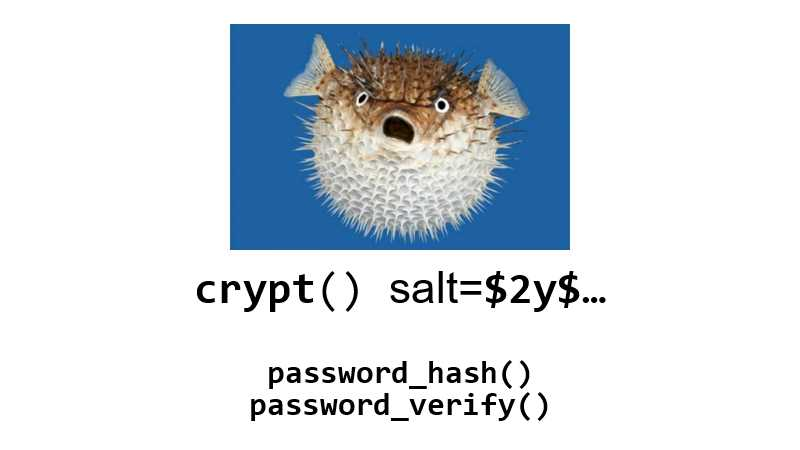 crypt() + salt=$2y$…, password_hash() & password_verify()