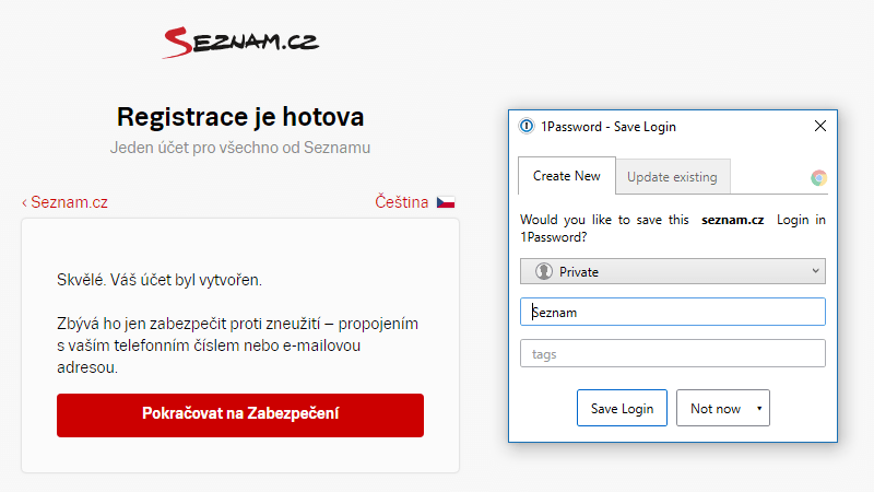 "Účet vytvořen ""Would you like to save this login in 1Password?"""