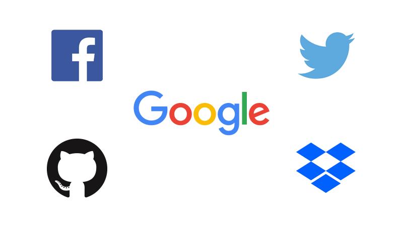Facebook, Twitter, Google, GitHub, Dropbox