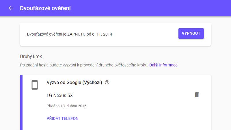 Dvoufázové ověření na Google