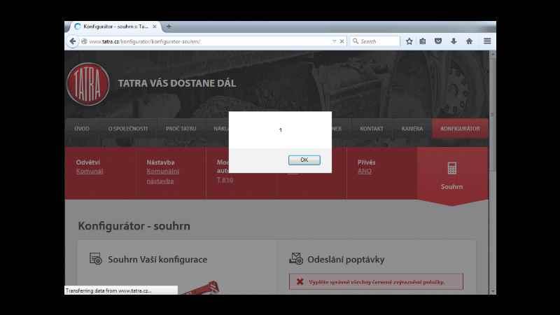 alert(1) na webu tatra.cz