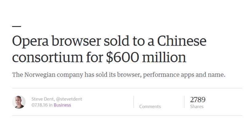 Opera browser sold to a Chinese consortium for $600 million