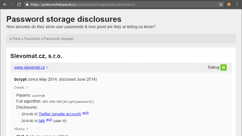 www.slevomat.cz password storage disclosures: bcrypt (since May 2014, disclosed June 2014)