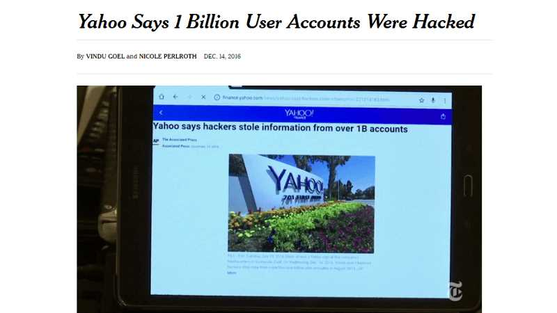 Yahoo Says 1 Billion User Accounts Were Hacked
