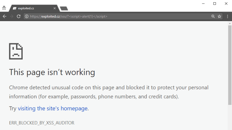 This page isn't working, ERR_BLOCKED_BY_XSS_AUDITOR