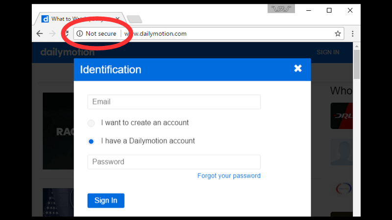 Not Secure formulář v Chrome