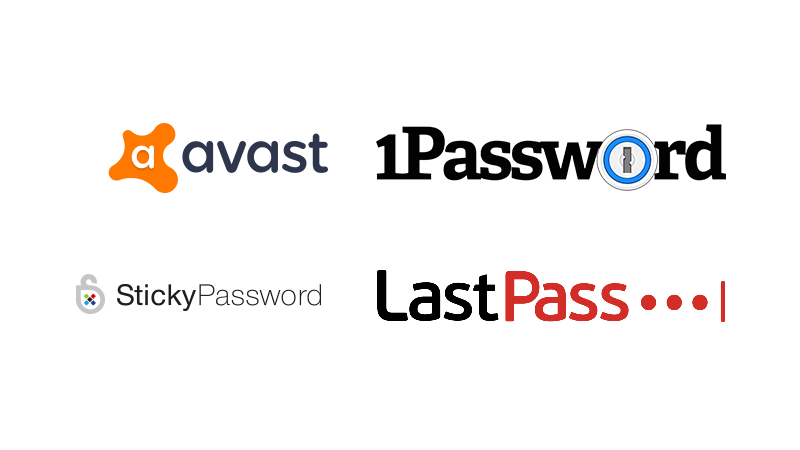 Loga Avast, StickyPassword, 1Password, LastPass