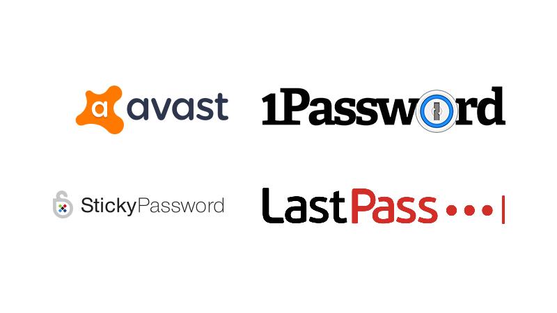 Loga Avast, StickyPassword, 1Password, LastPass