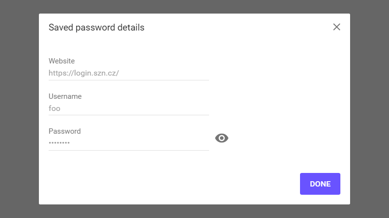 Screenshot Saved password details v Chrome